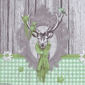 1050 독일 직 수입 Decorated Deer green